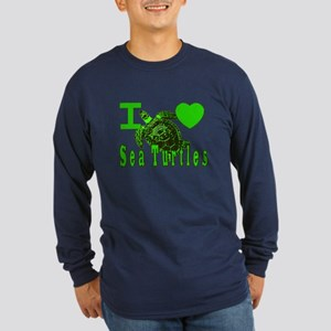 I LOVE ( Heart ) Sea Turtles Long Sleeve Dark T-S