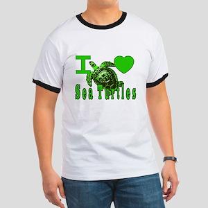 I LOVE ( Heart ) Sea Turtles  Ringer T