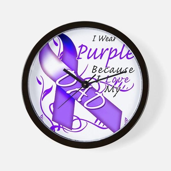 I Wear Purple Because I Love My Dad Wall Clock