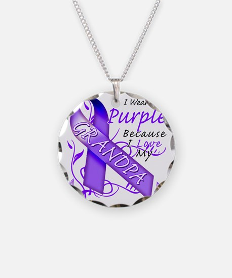I Wear Purple Because I Love Necklace