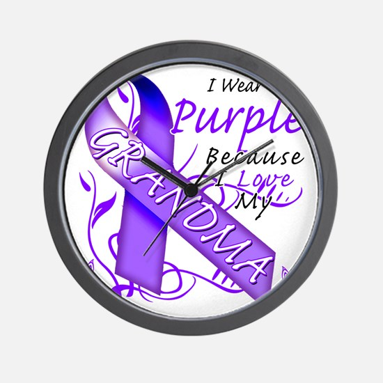 I Wear Purple Because I Love My Grandma Wall Clock