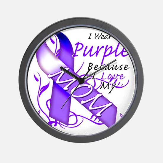 I Wear Purple Because I Love My Mom Wall Clock