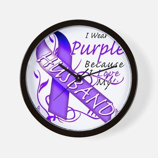 I Wear Purple Because I Love My Husband Wall Clock