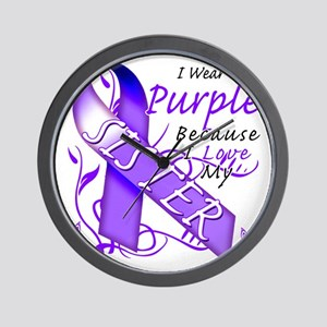 I Wear Purple Because I Love My Sister Wall Clock