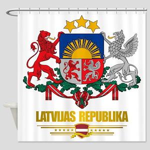Latvia COA (Flag 10)2 Shower Curtain