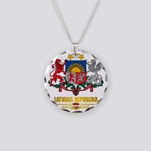 Latvia COA (Flag 10)2 Necklace Circle Charm