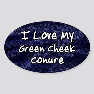 Funky Love Green Cheeked Conure Oval Sticker