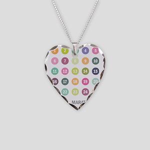 Marathoner Numbers Pastels Necklace Heart Charm