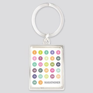 Marathoner Numbers Pastels Portrait Keychain