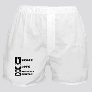 Peace Love Brussels Griffon Boxer Shorts