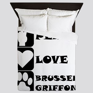 Peace Love Brussels Griffon Queen Duvet