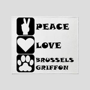 Peace Love Brussels Griffon Throw Blanket