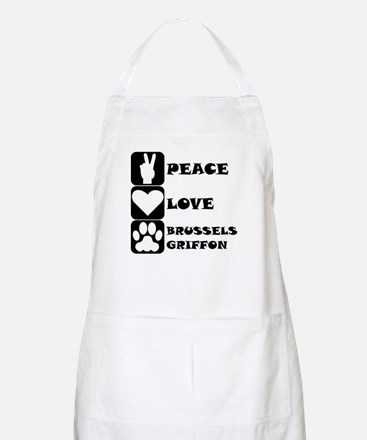 Peace Love Brussels Griffon Apron