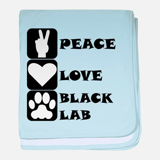 Peace Love Black Lab baby blanket