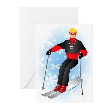 Ski Man (blonde) Greeting Cards (Pk of 10)