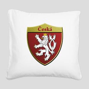 Czech Metallic Shield Square Canvas Pillow
