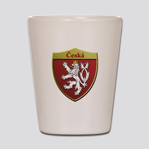 Czech Metallic Shield Shot Glass