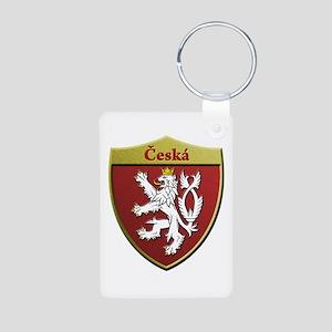Czech Metallic Shield Keychains