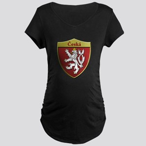 Czech Metallic Shield Maternity T-Shirt