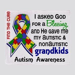 D Blessing 4 Autism Grandkids 2 Prim Throw Blanket