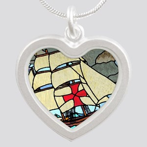 Holy Trinity Ship Tshirt Silver Heart Necklace