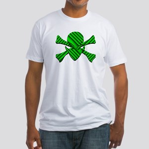 Alien Jolly Roger in Green Fitted T-Shirt