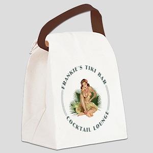 Frankies Tikki 1 clock Canvas Lunch Bag