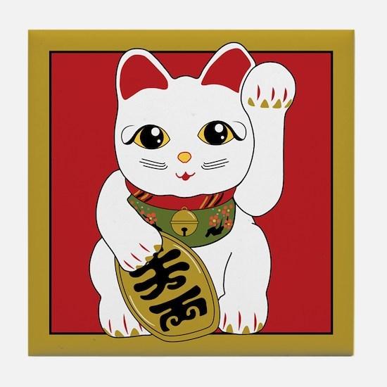 White Maneki Neko Tile Coaster