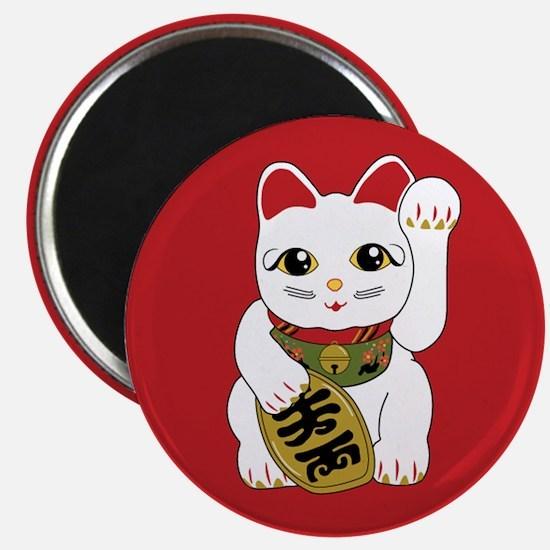 White Maneki Neko Magnet