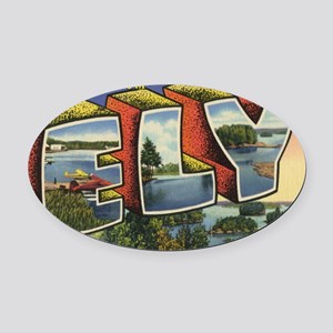 Ely_PrintFramed Oval Car Magnet