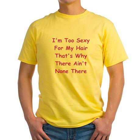 Funny Bald Joke Gifts Yellow T-Shirt
