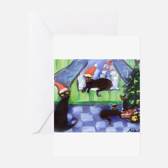 Black Cat Christmas holiday Greeting Cards