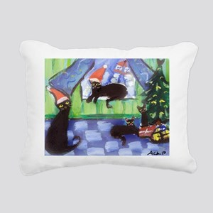 Black Cat Christmas holiday Rectangular Canvas Pil