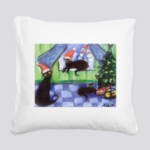 Black Cat Christmas holiday Square Canvas Pillow