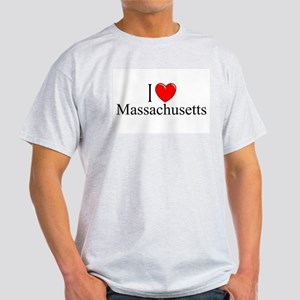 """I Love Massachusetts"" Ash Grey T-Shirt"
