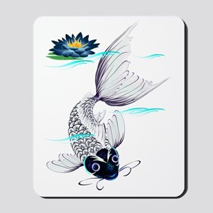 White Koi and Fins Trans Mousepad