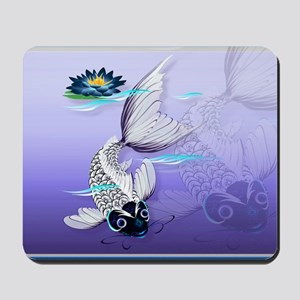 Yard Sign White Koi-Blue Lily Mousepad