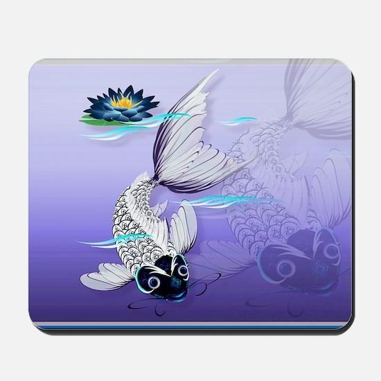 Yard Sign White Koi-Blue Lily Mousepad