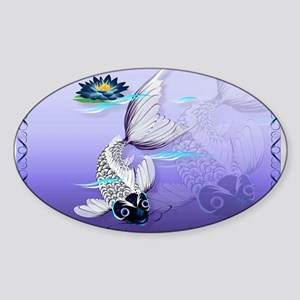 Yard Sign White Koi-Blue Lily Sticker (Oval)