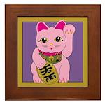 Pink Maneki Neko Framed Tile