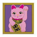 Pink Maneki Neko Tile Coaster