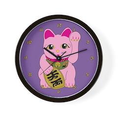 Pink Maneki Neko Wall Clock