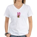 Pink Maneki Neko Women's V-Neck T-Shirt