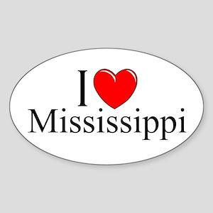 """I Love Mississippi"" Oval Sticker"