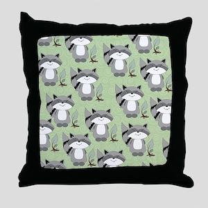 Raccoon flip flops green Throw Pillow
