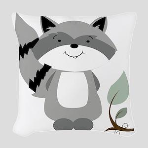 Raccoon Woven Throw Pillow