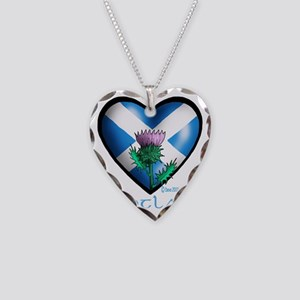 Heart and Thistle Necklace Heart Charm