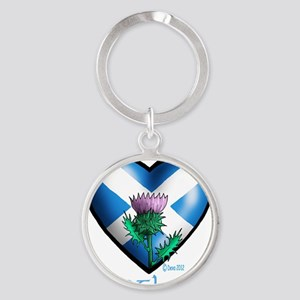 Heart and Thistle Round Keychain