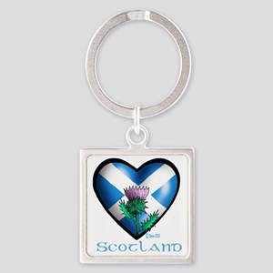 Heart and Thistle Square Keychain