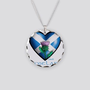 Heart and Thistle Necklace Circle Charm